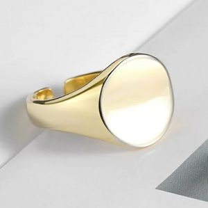 NEW SILVER / GOLD PLATED SIGNET ADJUSTABLE RING
